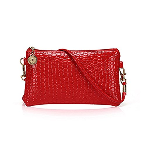 Leather Patent Leather Messenger Bag (Bluelans Fashion Women Shoulder Bag Tote Messenger Mini PU Leather Crossbody Satchel Handbag (Red))