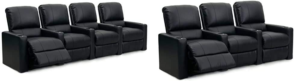 Octane Seating Octane Charger XS300 Leather Home Theater Recliner Set (Row of 4), Black & Octane Charger XS300 Leather Home Theater Recliner Set (Row of 3), Black