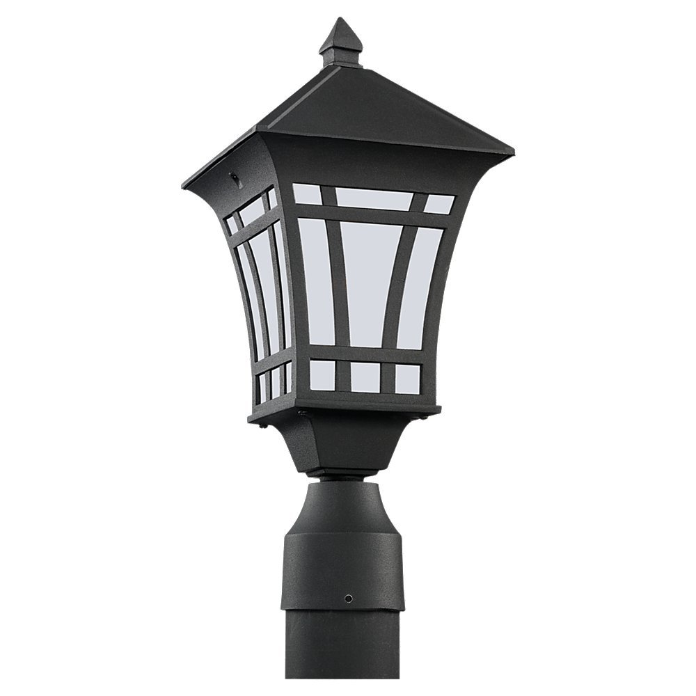 Sea Gull Lighting 89231BL-12 Herrington-One Light Outdoor Post Lantern, Black Finish with Etched Glass