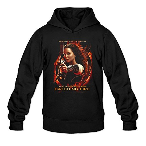 Men's Hunger Games Girl On Fire Poster Hoodie Black Small