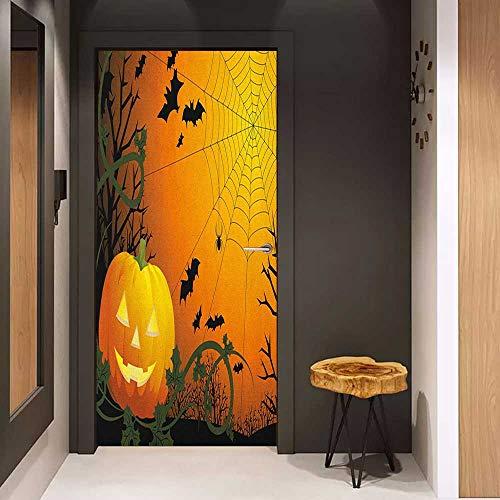 Door Wallpaper Murals Spider Web Halloween Themed Composition with Pumpkin Leaves Trees Web and Bats WallStickers W38.5 x H79 Orange Dark Green -