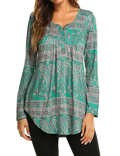 (Halife Tunic Shirt Womens Tops Long Sleeve Paisley Blouse Casual V Neck Floral Shirt XL, Dark Green)