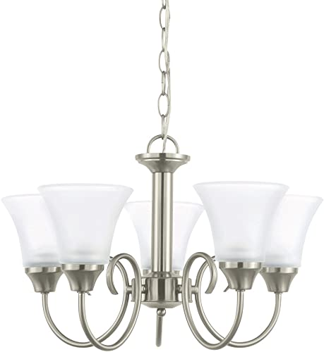 Sea Gull Lighting 31808-962 Holman Five-Light Chandelier with Satin Etched Glass Shades, Brushed Nickel Finish