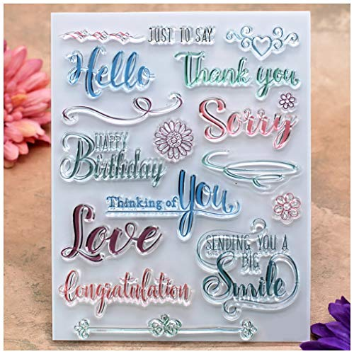 ank You Happy Birthday Love Smile Congratulation Clear Stamps for Card Making Decoration and DIY Scrapbooking ()