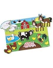 Melissa & Doug Farm Wooden Peg Puzzle (8 Pieces)