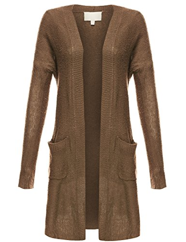 Knee Length Lightweight Open Front Drape Knit Cardigans,015-Khaki,US M