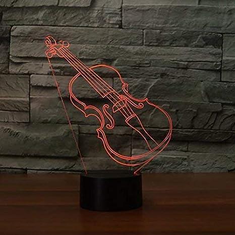 3D Guitarra Ilusión Lámpara luz Nocturna 7 Colores Cambiantes Touch USB de Suministro de Energía Juguetes Decoración Regalo de Navidad Cumpleaños: ...