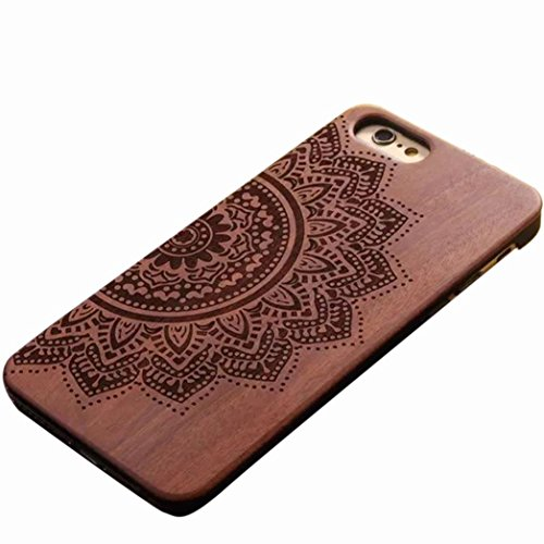 iPhone 6 Plus Case, AutumnFall® Natural Carved Wood Wooden Hard Case