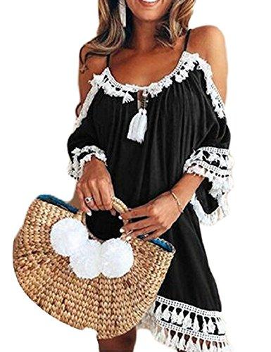 Should Womens CXINS Casual Black Dress Solid Sleeve Tassel Cold Beach Loose Short Xwpaxq