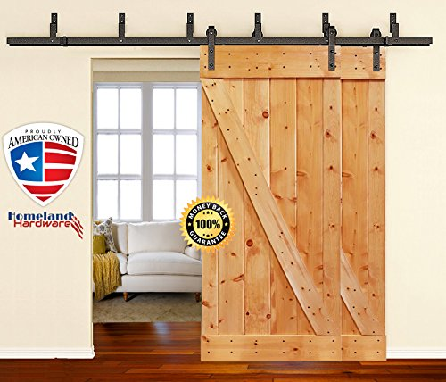 [SALE] 8 Foot Heavy Duty Bypass Sliding Barn Door Hardware Kit (Powder Coated Frosted Black) Includes Easy Step-By-Step Installation Video, Super Quiet, Ultimate Quality by Homeland Hardware