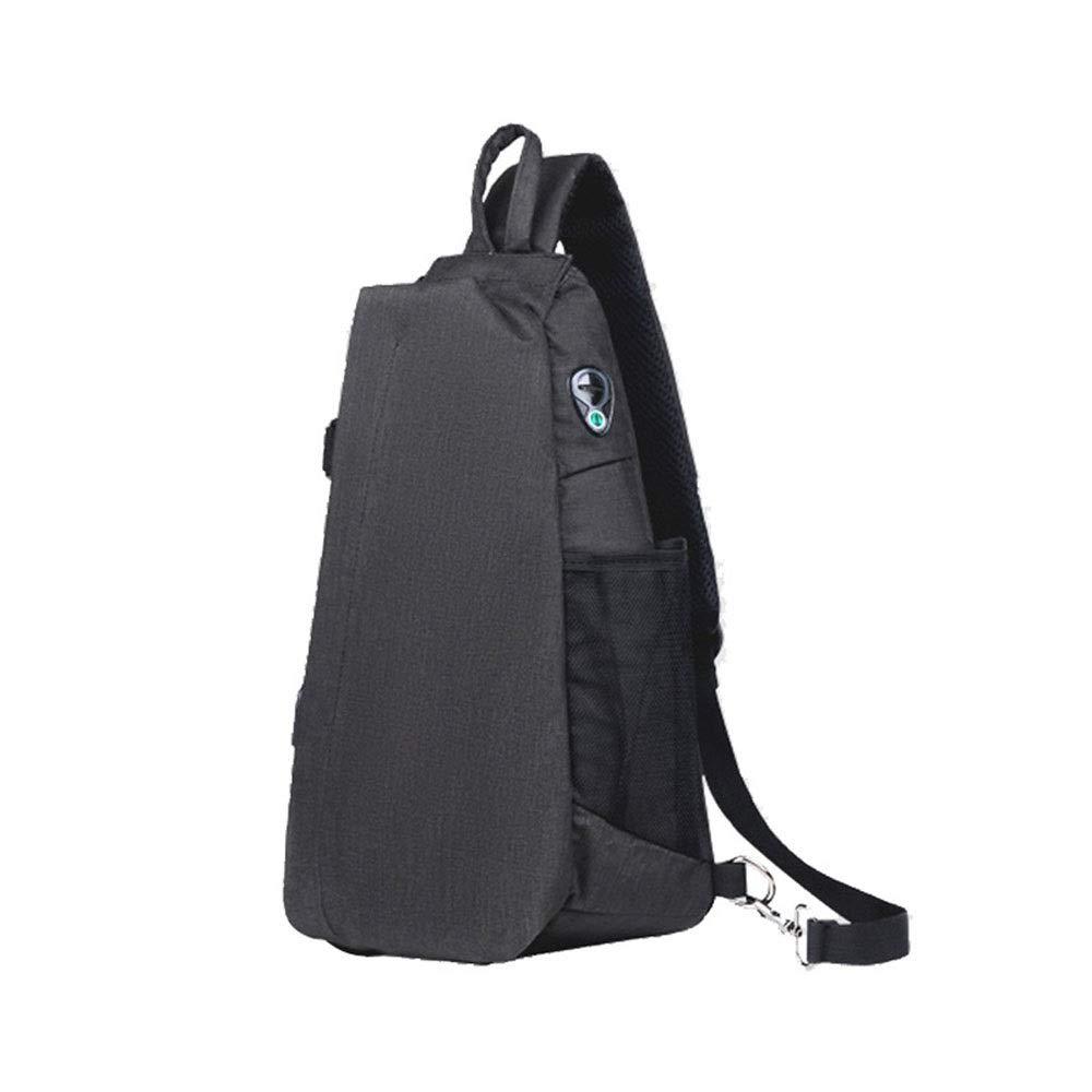 Color : Black LJL Trendy Style Oxford Spinning Drop Type Left and Right Shoulder Chest Bag Men and Women Outdoor Sports Shoulder Bag Large Capacity Fashion Messenger Bag External USB Charging Port