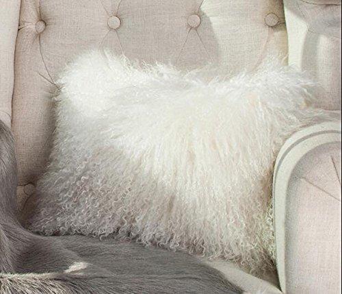 ROSE 100% Real Mongolian Lamb Wool Fur Cushion Cover Deco...