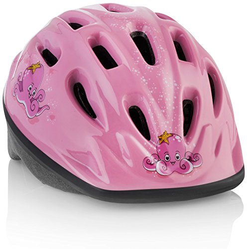 TeamObsidian Kids Bike Helmet [ Pink Octopus ] - Adjustable from Toddler to Youth Size, Ages 3-7 - Durable Kid Bicycle Helmets with Fun Aquatic Design Girls Will Love - CPSC Certified - FunWave (Toddler Helmet 3 Year Old Girl)