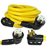 Epicord 25 FT Extension Cord - 50 Amp Standard Male to 50 Amp 90 Degree Female Locking Adapter