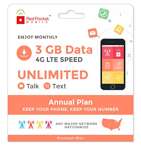 Red Pocket Mobile Premium 360 Day Prepaid Phone Plan, No Contract, Free SIM Kit; Unlimited Talk, Unlimited Text & 3 GB of LTE Data - Only $21.25/Month
