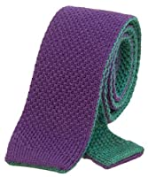 Purple/Dark Green Reversible Thick Wool Knitted Tie by 40 Colori