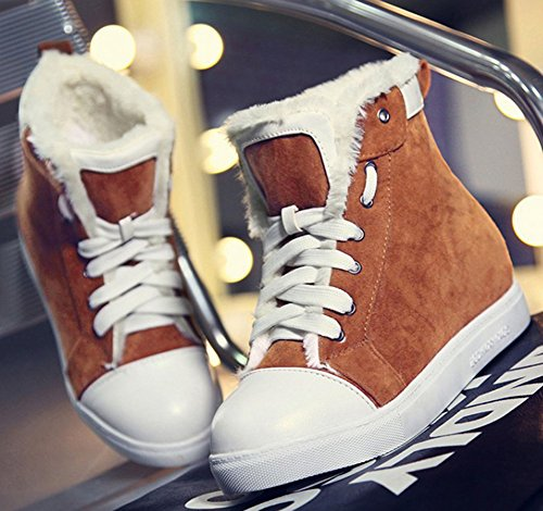 IDIFU Womens Casual Low Heels Inside Flat Lace Up Faux Fur Lined Ankle High Winter Snow Boots Yellow uo7FGO