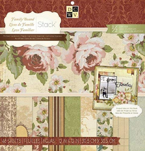 (DCWV Family Bound Stack Printed Cardstock 48 Scrapbooking sheets)