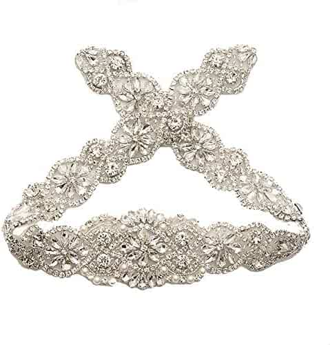 Bridal Rhinestone Wedding Belts Hand Clear Crystal 22In Length For Gowns