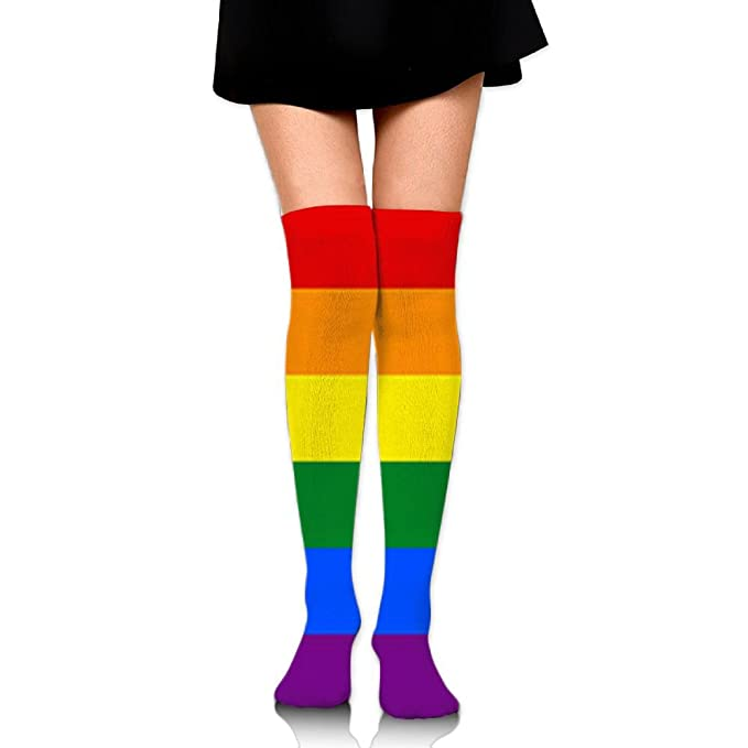 cfade0aff Amazon.com  GYANG Thigh High Socks Rainbow Flag Symbols Male Women s Over  The Knee High Leg Wamers Girls Winter Warm Crochet Stockings  Clothing