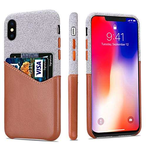 - Lopie [Sea Island Cotton Series] Slim Card Case Compatible for iPhone X/10 2017, Fabric Protection Cover with Leather Card Holder Slot Design, Light Brown