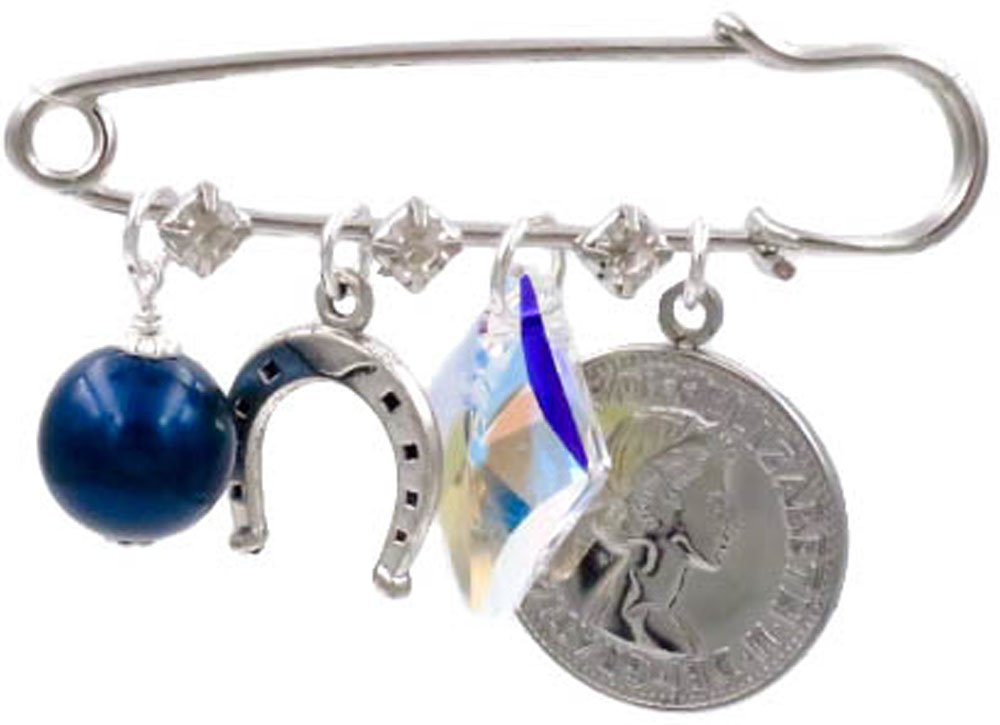 Better Than Buttons Blue Simulated Pearl, Lucky Horseshoe, Crystal, and Six Pence Bridal Pin