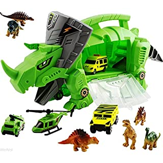 WolVolk Perfect Dinosaur Storage Carrier for Your Dinosaurs and Cars (includes mini dinosaurs and car toys)