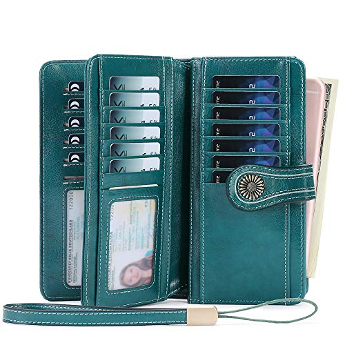Women Wallet, Large Capacity with RFID Protection, Genuine Leather by SENDEFN (Peacock Blue-B)