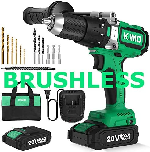 Brushless Cordless Drill Driver Set w 2 Lithium-Ion Batteries, 20 V Hammer Impact Drill Kit w 660 In-lb Torque, Variable Speed, 1 2 Keyless Chuck, Built-in LED, Reverse forward 12 Bits Fast Charger