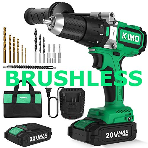 Brushless Cordless Drill Driver Set w/ 2 Lithium-Ion Batteries, 20 V Hammer Impact Drill Kit w/ 660 In-lb Torque, Variable Speed, 1/2″ Keyless Chuck, Built-in LED, Reverse/forward 12 Bits Fast Charger