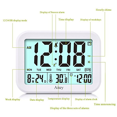 Digital Alarm Clock, Aitey Talking Clock with 3 alarms, Optional Weekday Alarm, Intelligent Noctilucent & Snooze Function, Month Date & Temperature Display for Adults, Kids & Teens (Green) by Aitey (Image #2)