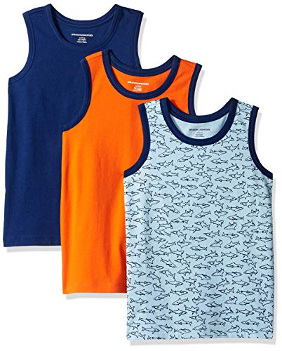 Amazon Essentials   Boys' 3-Pack Tank Top, Shark/Blue/Orange XL (12)
