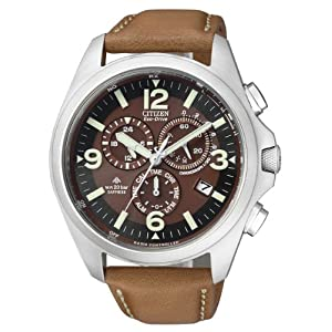 Citizen AS4041-10W - Reloj cronógrafo de Cuarzo para Hombre, Correa de Piel de Borrego Color marrón 11