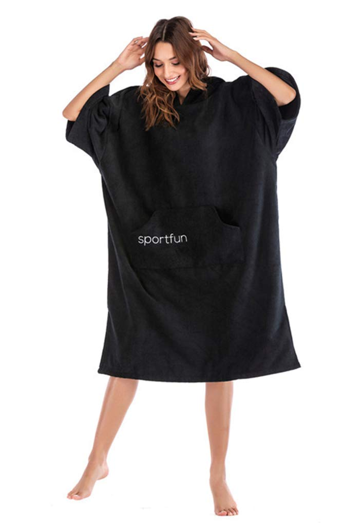 Bathing 100/% Cotton Changing Robe with Pockets Surfing Beach Memoryee Hooded Towel Poncho Cloak Women and Man Hooded Quick-drying Towel Hoodie Ideal for Holidays,Swimming