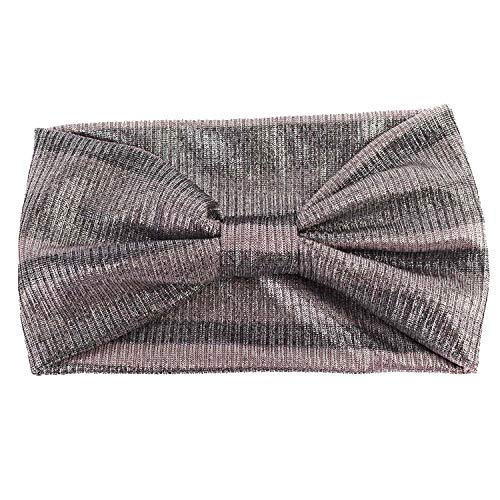 Women's Gold Color Wide Striped Headbands Summer Fashion Turban Knitted Headband For Ladies Bow Hairband,Pink ()