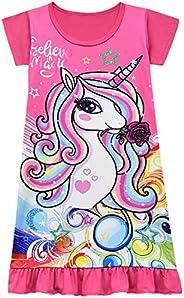 Thombase Girls Nightdress Nighties Unicorn Rainbow Fairy Believe in Magic Nightgown for Kids Gift