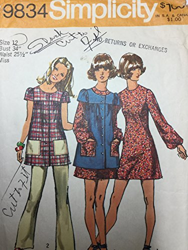 Simplicity 9834 Sewing Patttern, Vintage, Button Front Smock or Tunic with Gathered Yoke & Gathered Shorty Sleeves, Over A-line Dress with French Darts and Back Zip Pants