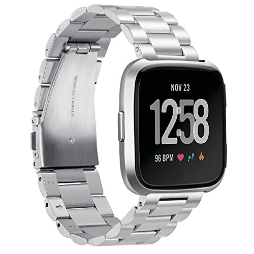 Aresh Compatible Fitbit Versa Lite Edition Bands, Stainless Steel Versa Band Replacement Metal Strap for All Fitbit Versa/Versa Lite Edition/Versa Special Edition,Fits Wrist Size:5.7-8.27(Silver)