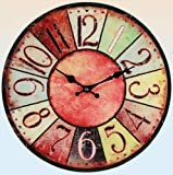 """Wanduhr """"Vintage Colors"""" - rot - farbenfrohe Glasuhr im modernen Design mit arabischen Ziffern, Ø: 38 cm"""