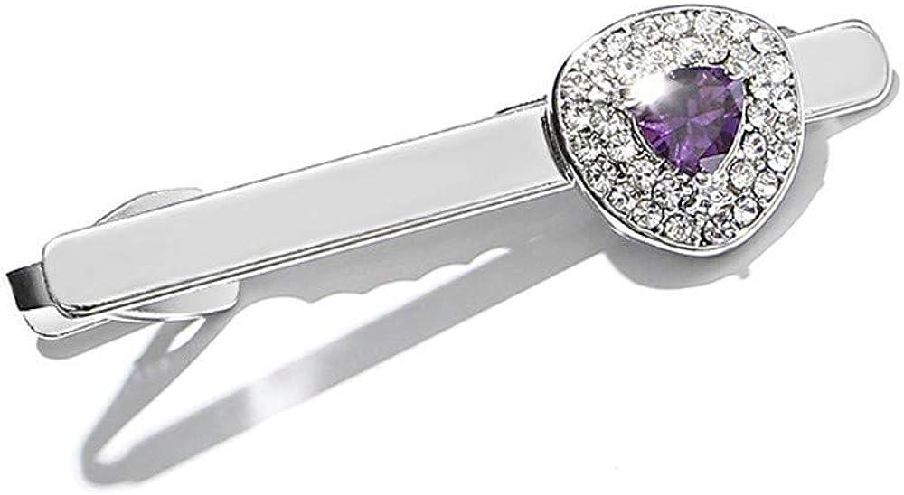 YYXXX Pince /à Cravate Pince /à Cravate en Cristal avec Mode cr/éative avec Triangle de Diamant Zircon Violet