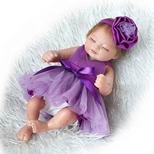 (Funny House 2018 New Handmade Sleeping Full Body Silicone Soft Vinyl Real Looking Reborn Baby Dolls 10''/26cm Purple Dress Lifelike Newborn Girl Doll Xmas)