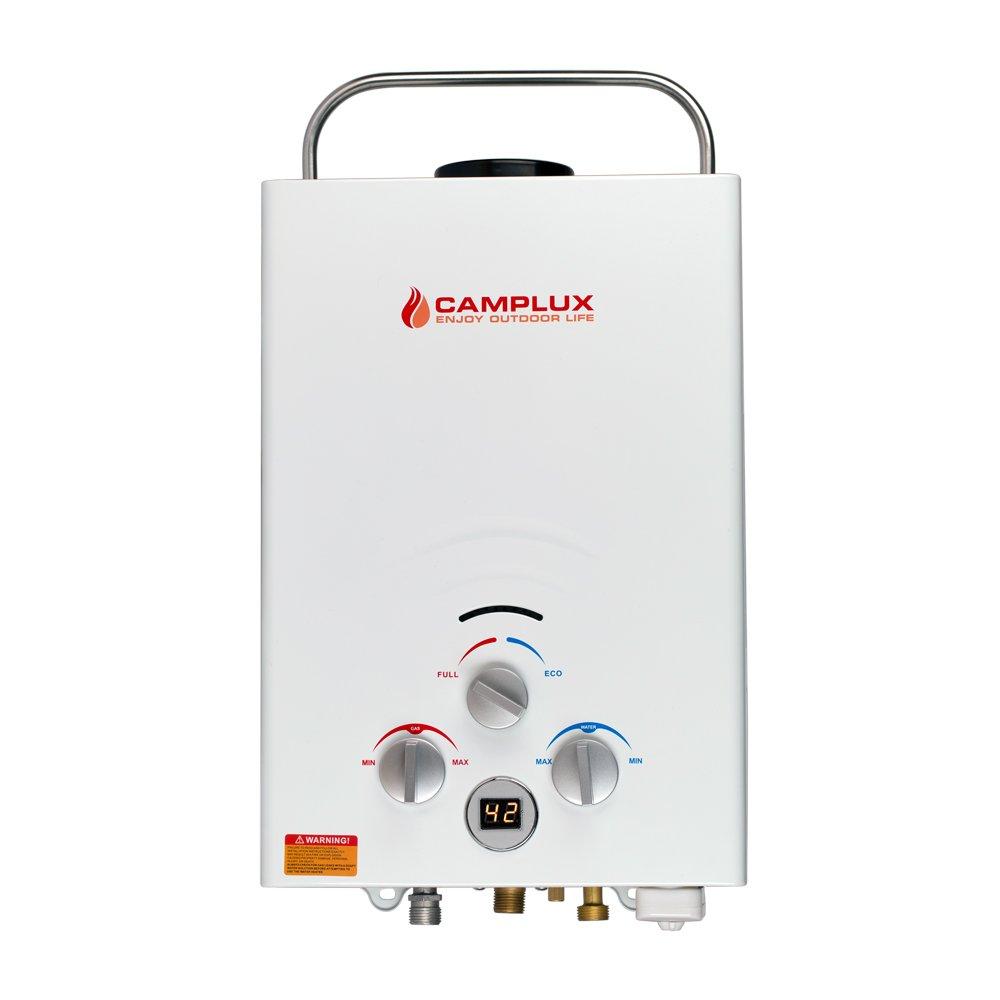 Camplux BW158 6L - Calentador de agua instantánea portátil para exteriores (propano, sin depósito de gas, con regulador CE), color blanco: Amazon.es: ...
