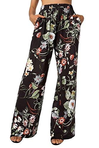 BAISHENGGT Damen Blumenmuster Locker Weite Beine Lange Hose mit Seitentaschen
