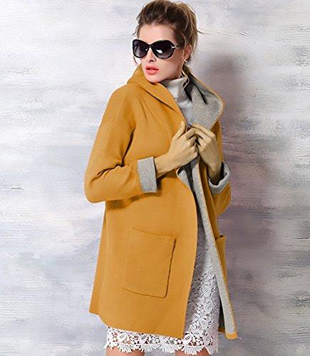 et Capuche Trench Femme Longues Hiver Blousons Blouson Manteaux Manches Jaune Veste Coat Outwear Chaud Minetom RExqwpgq