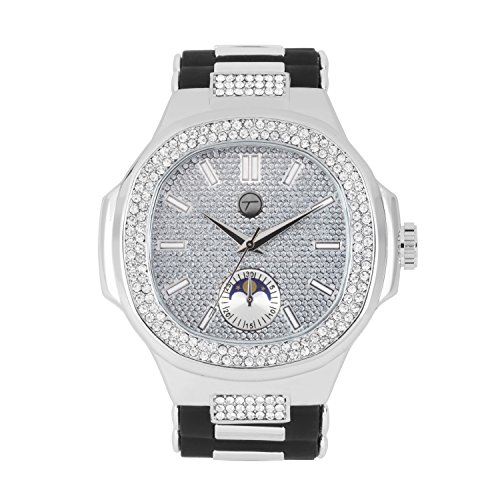 Men's Iced Out Hip Hop Watch with Bullet Band and Simulated Diamond Crystals - Silver/Black