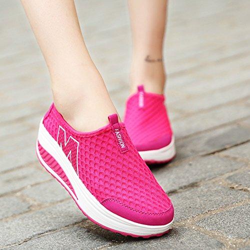 Shoes SAGUARO Shoes Mesh Lightweight Rocker Shoes Fitness Platform Womens Rose Toning On Walking Wedges Soft Tennis A Shoes Slip Sports Ladies Red YxnUYrg6