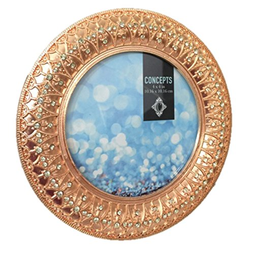 Photo Picture Frame Metal Rose Gold Copper Vintage Look Rhinestones Jeweled Round 4