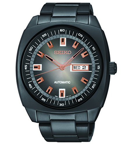 Seiko Men's SNKM99 Black Stainless Steel Automatic Watch (Steel Tonneau Watch Stainless)