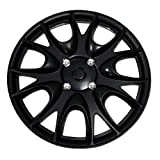 hyundai 14 wheel cover - TuningPros WSC-533B14 Hubcaps Wheel Skin Cover 14-Inches Matte Black Set of 4