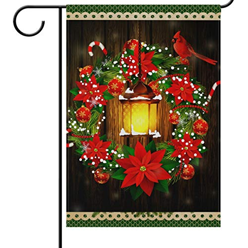 Wamika Merry Christmas House Flags 28 x 40 Double Sided, Xmas Poinsettias Street Lights Cardinal Bird Welcome Winter Holiday Yard Outdoor Garden Flag Banner for Party Home Christmas Decorations